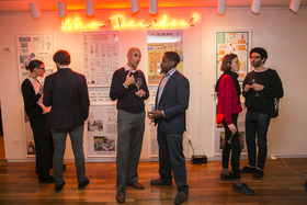 Opening reception of _Who Decides?_